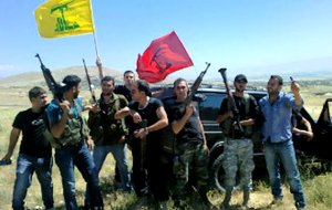 Hezbollah: the victors of the Battle of Qusayr - site of a suspected nuclear facility - celebrate in 2013. (Image via Mondoweiss)