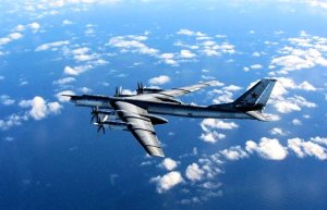 RAF photo of a Tu-95 Bear bomber intercepted in Oct 2014. (Image: MOD, SAC Robyn Stewart via Guardian)