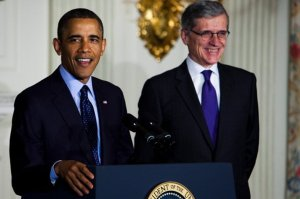 Obama and his BFF, FCC Chairman Tom Wheeler. (Image: NYT, Christopher Gregory)