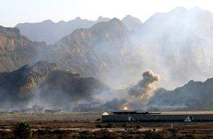Ammo storage site under attack in Aden, 28 Mar. (Image: Reuters via CBC)