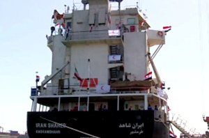 Iran Shahed, with stern decked out in Yemeni flags. Iranian flag flies from traditional position on center fantail. (Image: YouTube, Christoph Hoerstel)