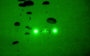 Night jump by soldiers from Ft. Hood in an exercise in Ft. Bragg, NC. (Image: U.S. Army, Sgt. Jake Marlin, 11th PAD)