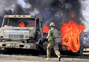 Attack on a NATO convoy in the Khyber Pass, June 2014. (Image: EPA, Gullamullah Habibi via NY Daily News)
