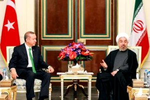 Erdogan and Rouhani meet in modern times.  (Image via Aydanlik Daily)