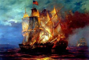 Bonhomme Richard and HMS Serapis at the Battle of Flamborough Head in 1779. Painting by Anton Otto Fischer (1882-1962). (Via crashmacduff.wordpress.com)