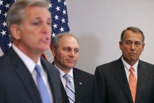 House GOP leaders Kevin McCarthy (Majority Leader), Steve Scalise (Majority Whip), and Speaker John Boehner. (Image via Politico)