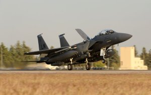USAF F-15E Strike Eagle from the 48th Fighter Wing (RAF Lakenheath) arrives at Incirlik in Nov 2015. (Image: USAF, Tech Sgt. Taylor Worley)